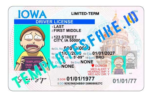 Iowa DL USA PSD Template