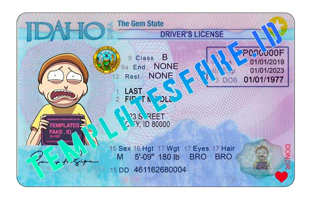 Idaho DL USA PSD Template
