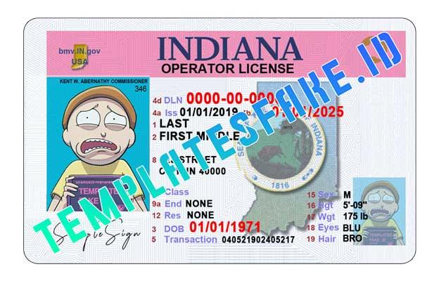 Indiana DL USA PSD Template