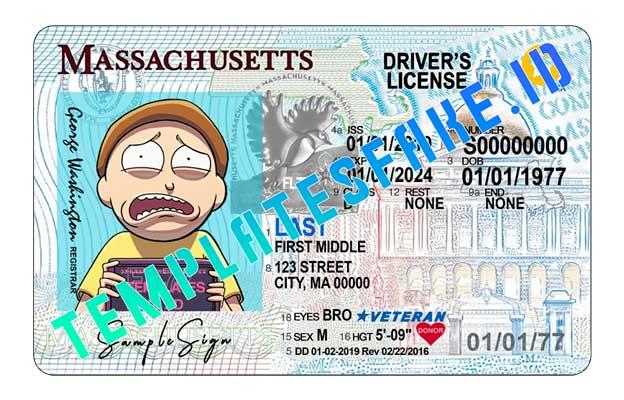 Massachusetts DL USA PSD Template