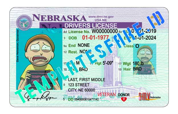 Nebraska DL USA PSD Template