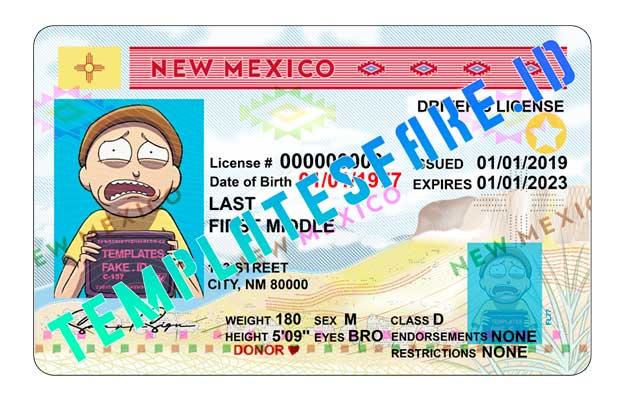 New Mexico DL USA PSD Template