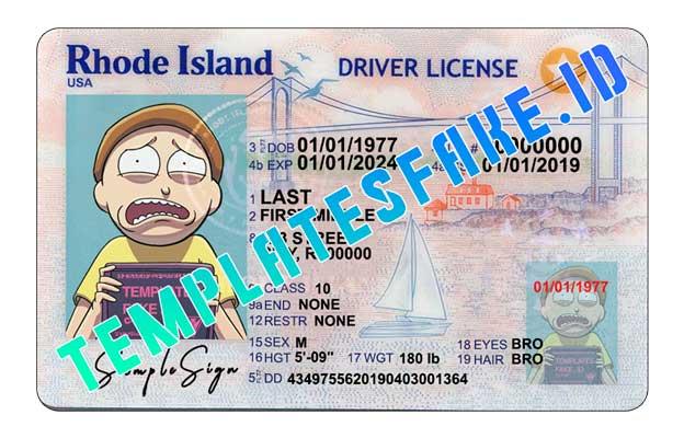 Rhode Island DL USA PSD Template