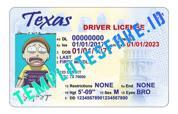 Texas DL USA PSD Template