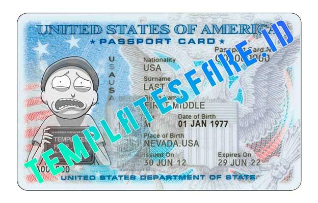 Passport Card USA PSD Template