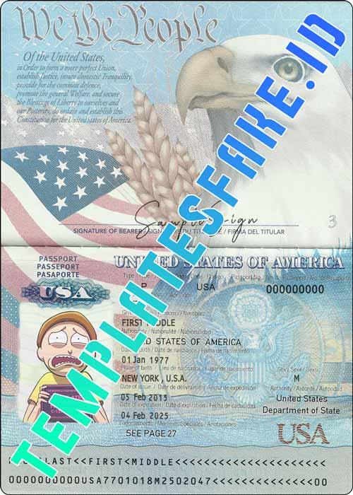 Passport USA PSD Template