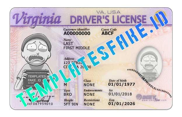 Virginia DL USA PSD Template